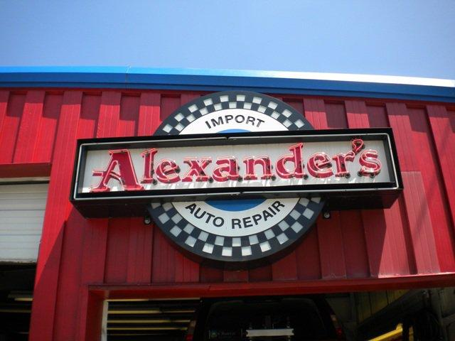 sign on alexanders import auto repair in minneapolis mn