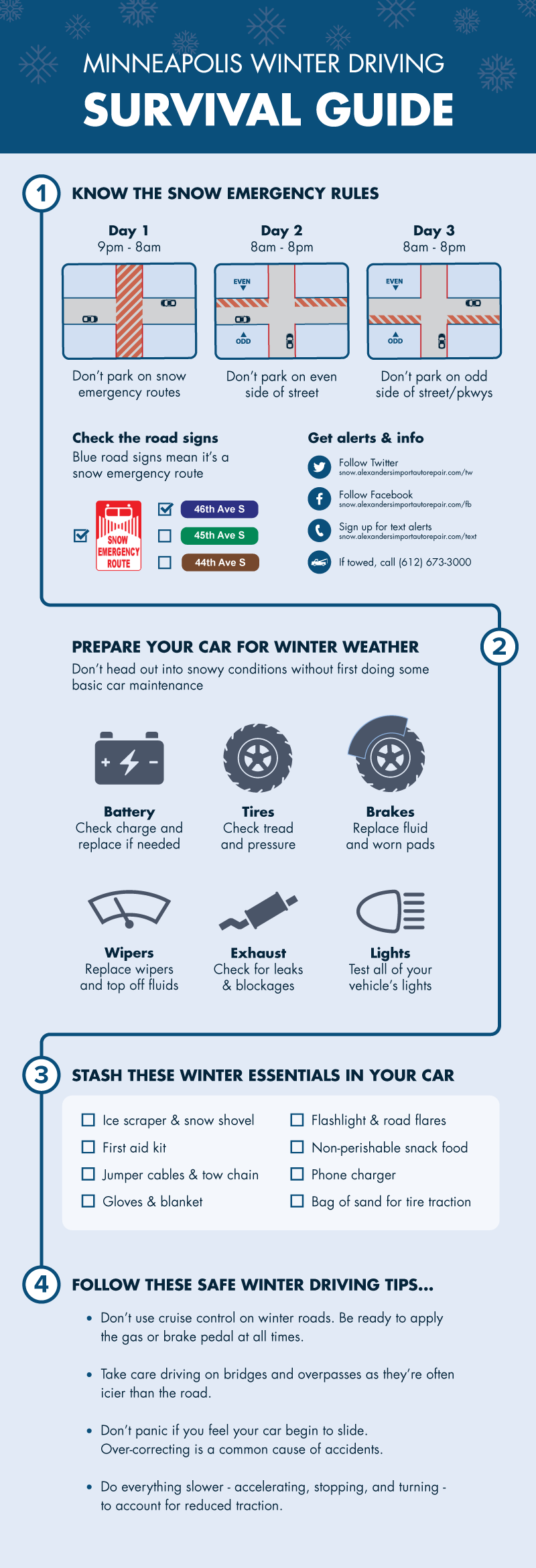 minneapolis winter driving tips and snow emergency rules
